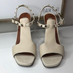 Valentino Rockstud Cutout Leather Block Heel